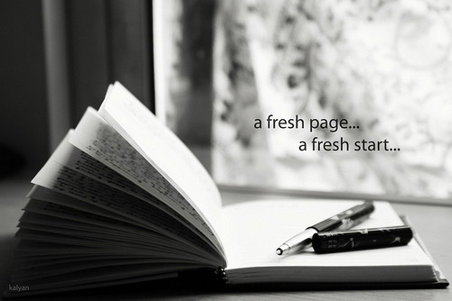 "pages turning ""a fresh page... a fresh start..."""